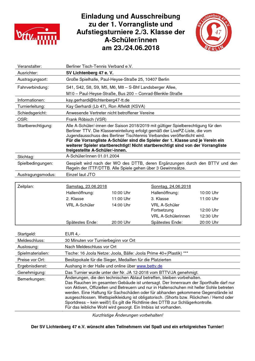 Ausschreibung 1. VRL und AT 2018 A-Schüler/innen