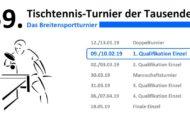 59. Tischtennis-Turnier der Tausende – 1. Qualifikation Einzel