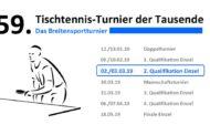 59. Tischtennis-Turnier der Tausende – 2. Qualifikation Einzel